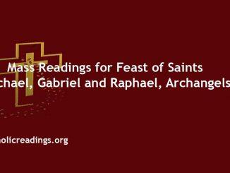 Mass Readings for Feast of Saints Michael, Gabriel and Raphael, archangels
