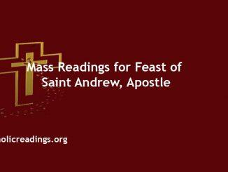 Catholic Mass Readings for Feast of Saint Andrew, Apostle