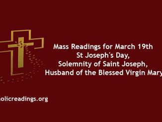 Catholic Mass Readings for St Joseph's Day, March 19 2020 - Solemnity of Saint Joseph, Husband of the Blessed Virgin Mary