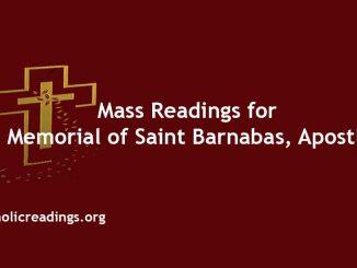 Mass Readings for Memorial of Saint Barnabas, Apostle