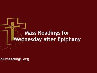 Catholic Mass Readings for Wednesday after Epiphany