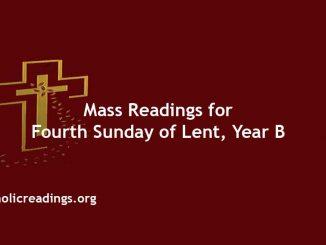 Catholic Mass Readings for Fourth Sunday of Lent, Year B