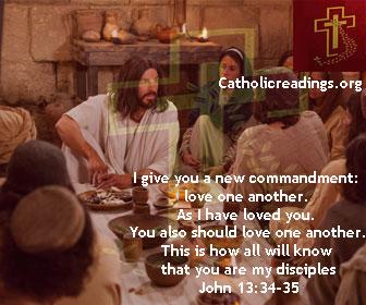May 19 2019 - Sunday, Catholic Quote of the Day - John 13:34-35