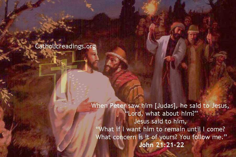 Jesus Rebukes Simon Peter Because of Judas Iscariot - John 21:20-25 - Bible Verse of the Day