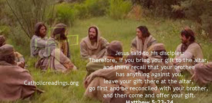 Bible verse of the Day, Matthew 5:23-24 - leave your gift at the altar