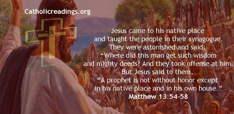 A Prophet is Not Without Honor Except in His Native Placea - Bible Verse of the Day - Matthew 13:54-58