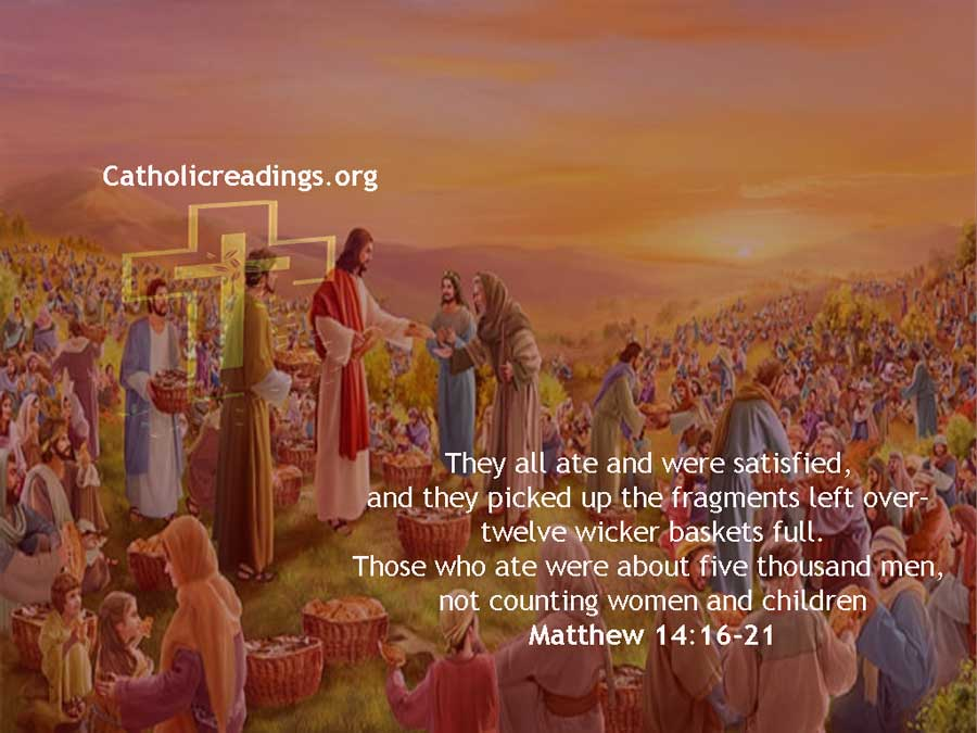 Jesus Feeds 5000 Men With 5 Loaves of Bread and 2 Fish - Matthew 14:16-21 - Bible Verse of the Day