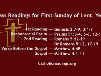 Mass Readings for First Sunday of Lent, Year A