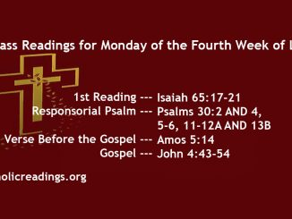 Monday of the Fourth Week of Lent