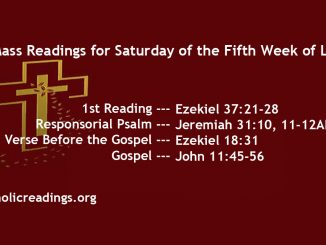 Saturday of the Fifth Week of Lent