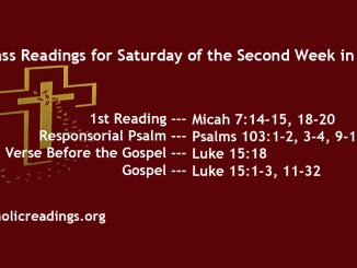 Saturday of the Second Week of Lent