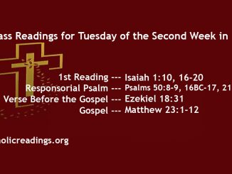 Tuesday of the Second Week of Lent
