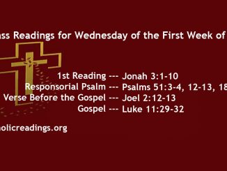 Wednesday of the First Week of Lent