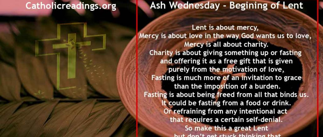 Ash Wednesday - Begining of Lent - Bible Verse of the Day