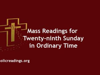 Mass Readings for Twenty-ninth Sunday in Ordinary Time